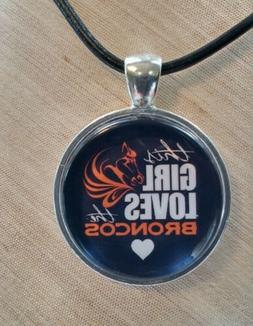 * NFL LOVE DENVER BRONCOS * Glass Pendant with Leather Neckl