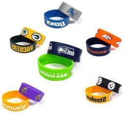 NFL Silicone Rubber Bracelet Wristband 2 Pcs - Pick Team